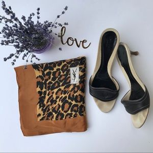Yves Saint Laurent Leopard Print Silk Scarf